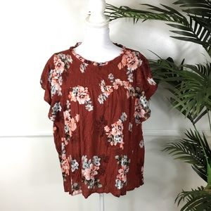 Maurices Ruffle Floral Blouse Womens Plus Size 1X